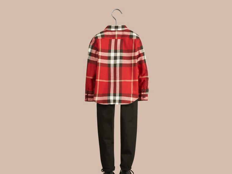 Parade red Check Cotton Flannel Button-Down Shirt Parade Red - cell image 4
