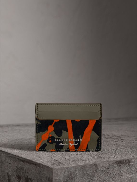 Splash Trench Leather Card Case in Slate Green/splash - Men | Burberry - cell image 3