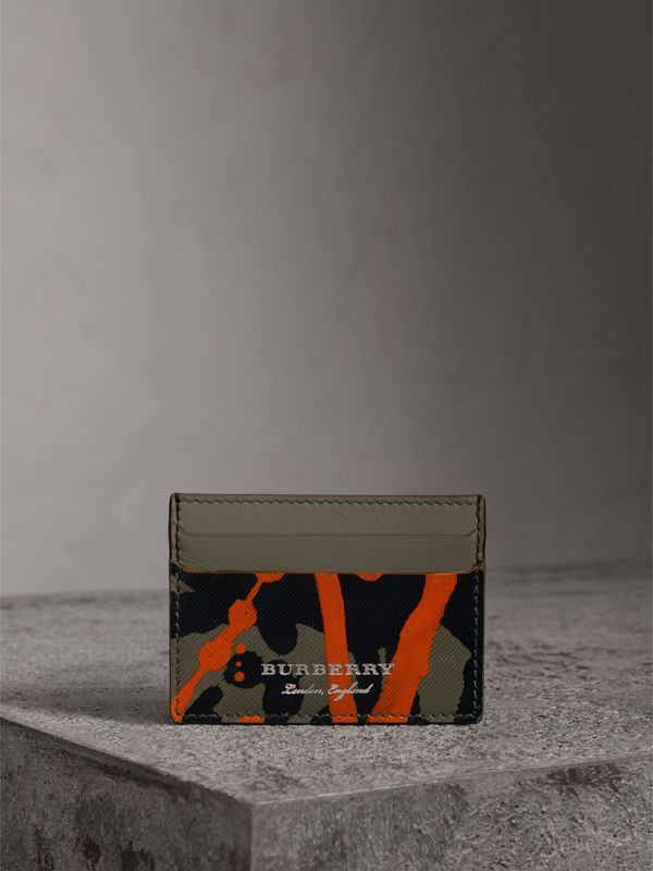 Splash Trench Leather Card Case in Slate Green/splash | Burberry United Kingdom - cell image 3