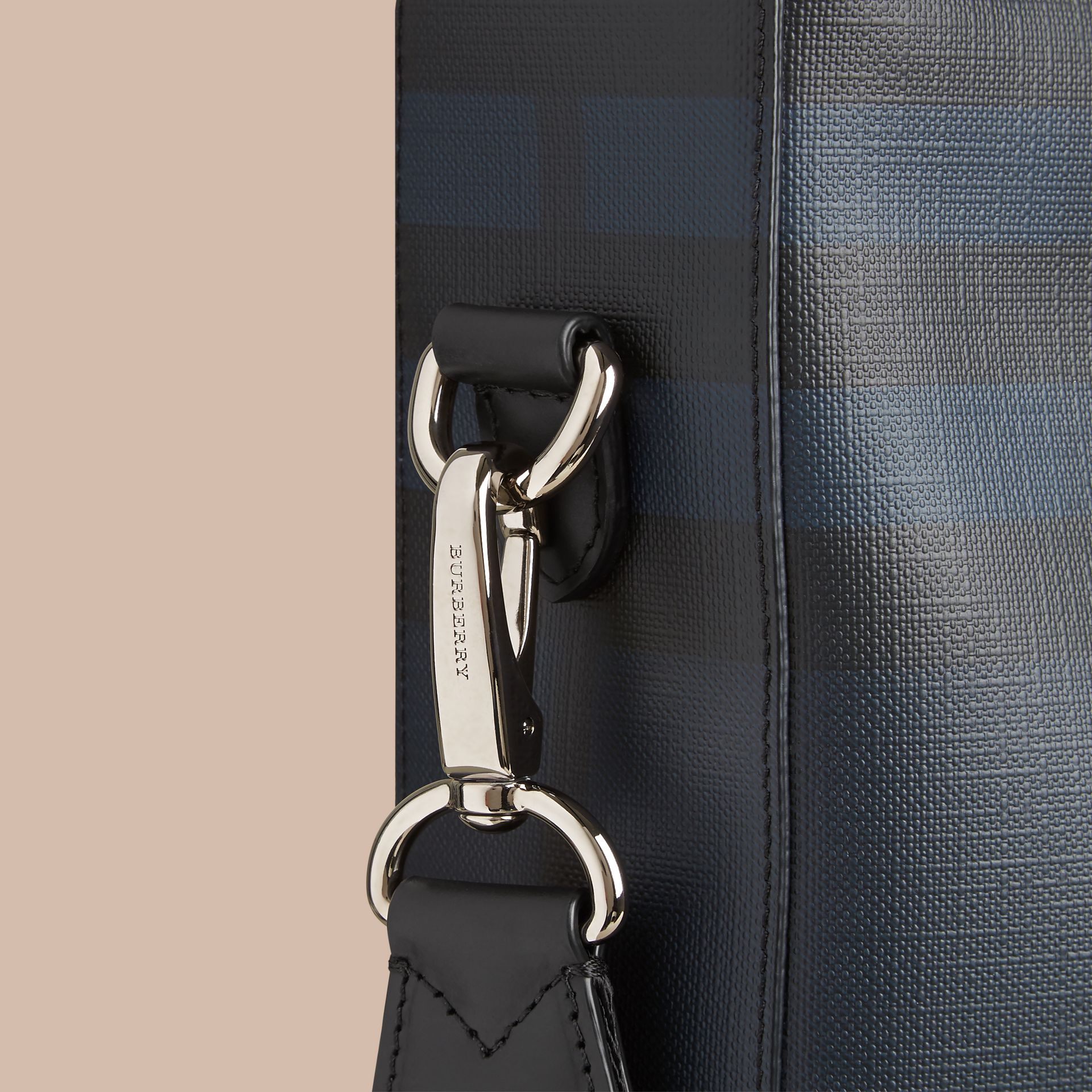 London Check Tote Bag in Navy/black - Men | Burberry Canada - gallery image 2