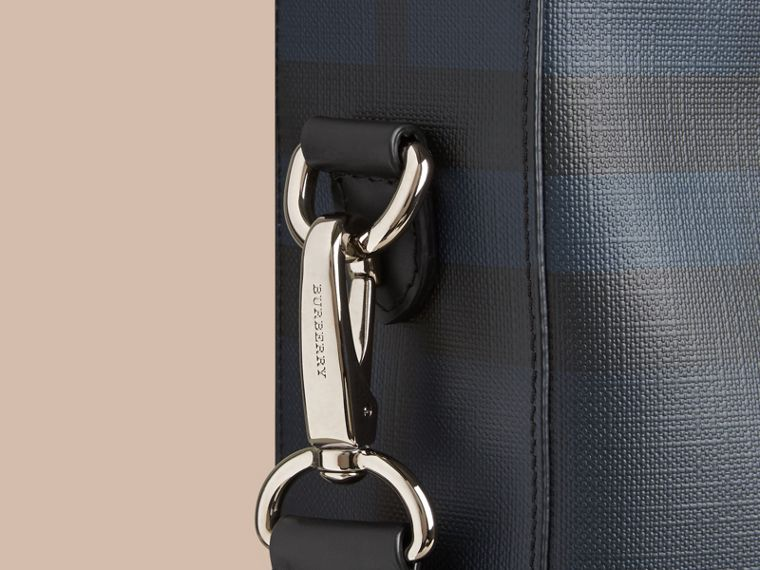 London Check Tote Bag in Navy/black - Men | Burberry Canada - cell image 1