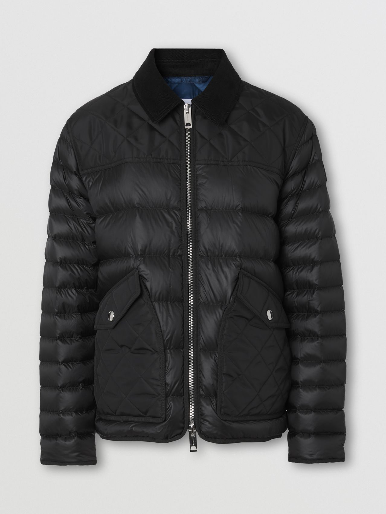 Diamond Quilted Panel Puffer Jacket in Black