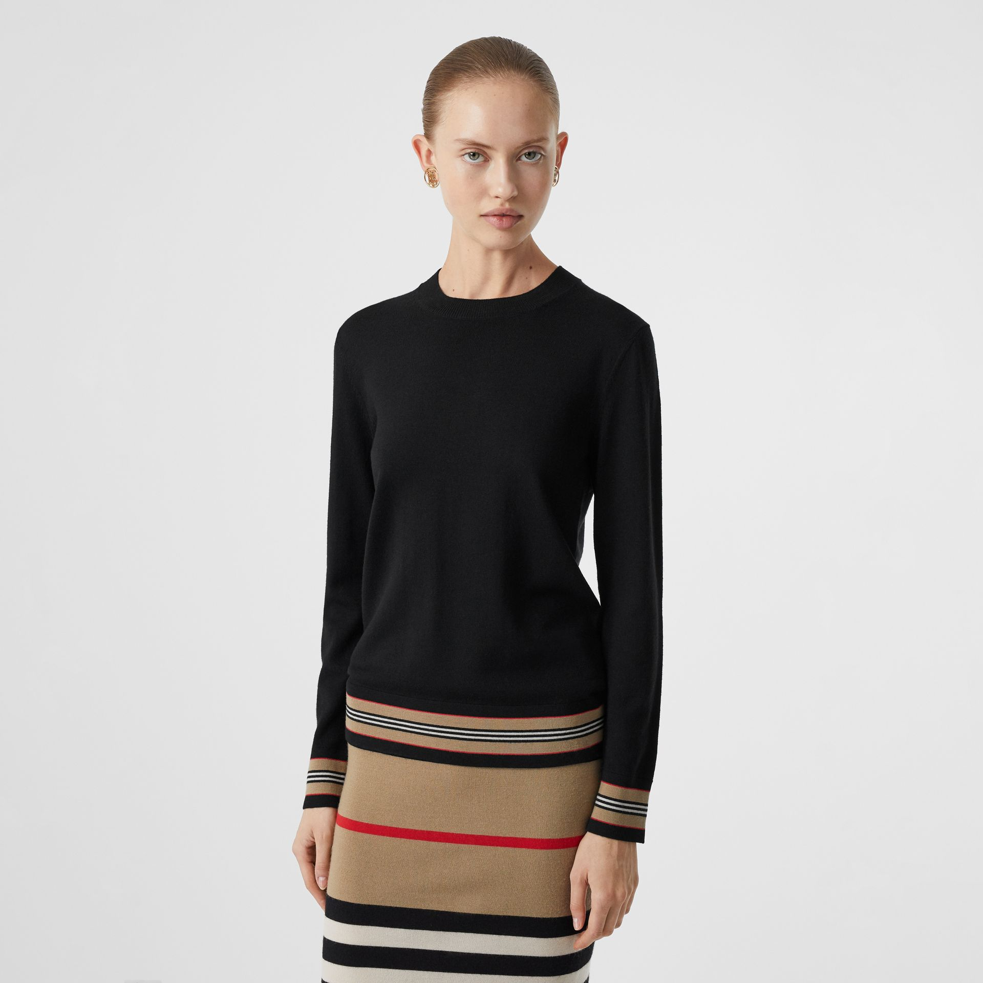 Icon Stripe Detail Merino Wool Sweater in Black - Women | Burberry - gallery image 4