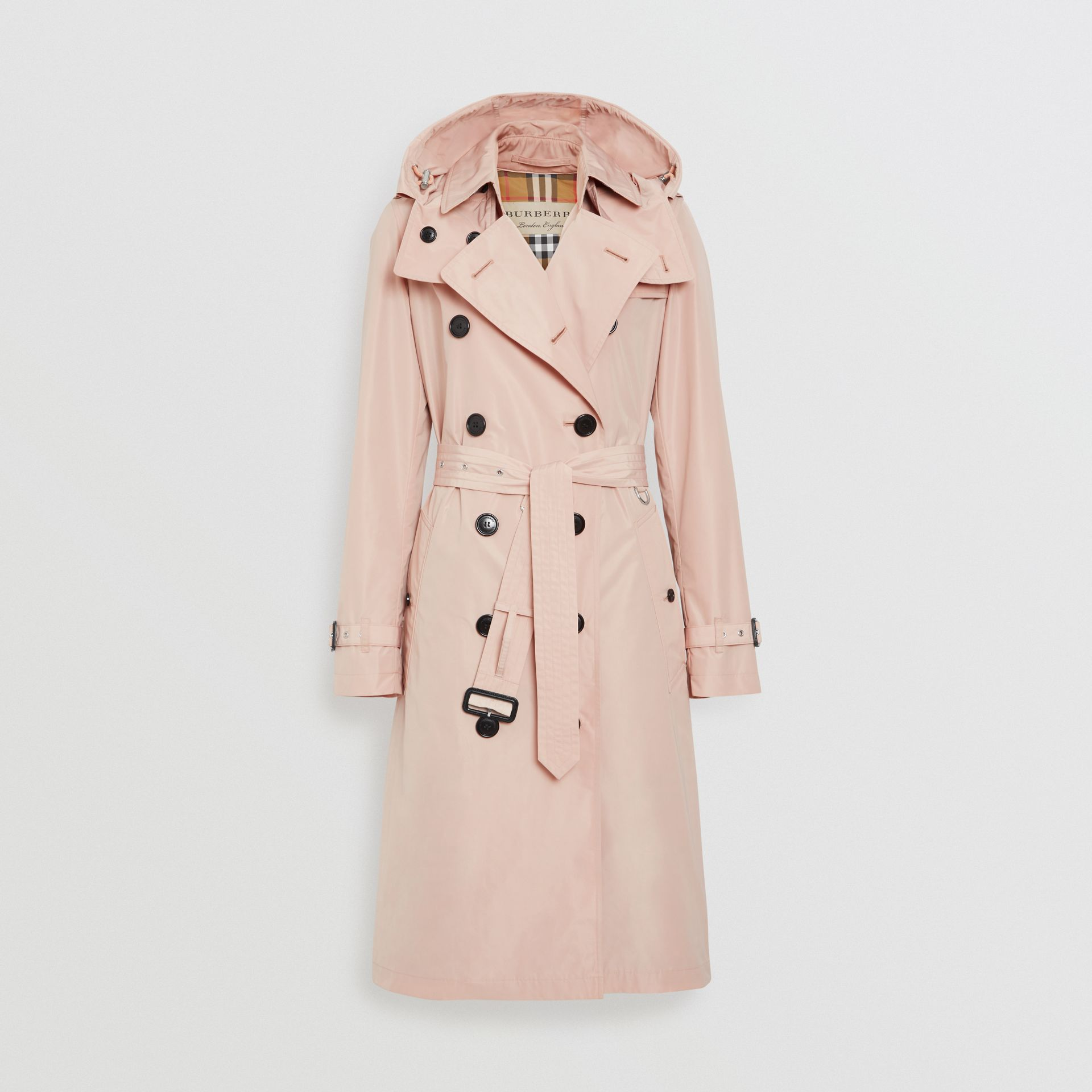 Detachable Hood Taffeta Trench Coat in Chalk Pink - Women | Burberry - gallery image 6