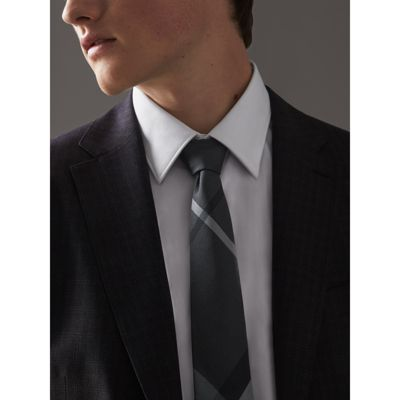 modern cut beat check silk tie in charcoal