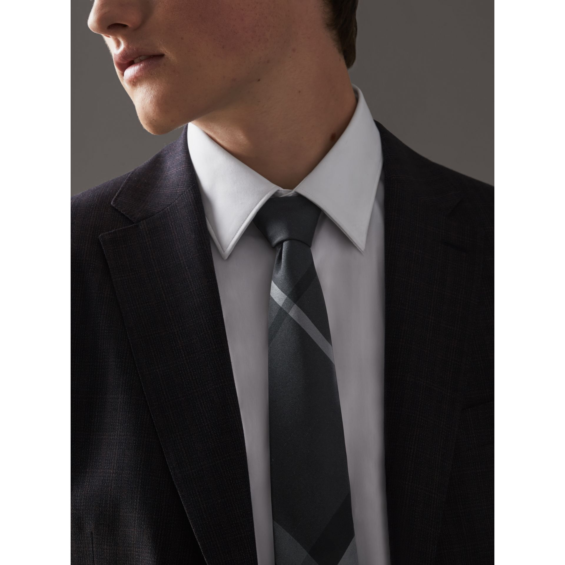 Modern Cut Beat Check Silk Tie in Dark Charcoal - Men | Burberry Australia - gallery image 2