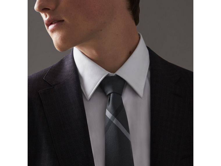 Modern Cut Beat Check Silk Tie in Dark Charcoal - Men | Burberry Australia - cell image 2