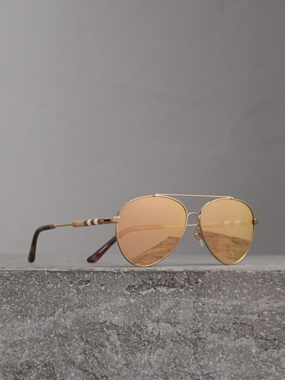 Check Detail Pilot Sunglasses in Rose Gold