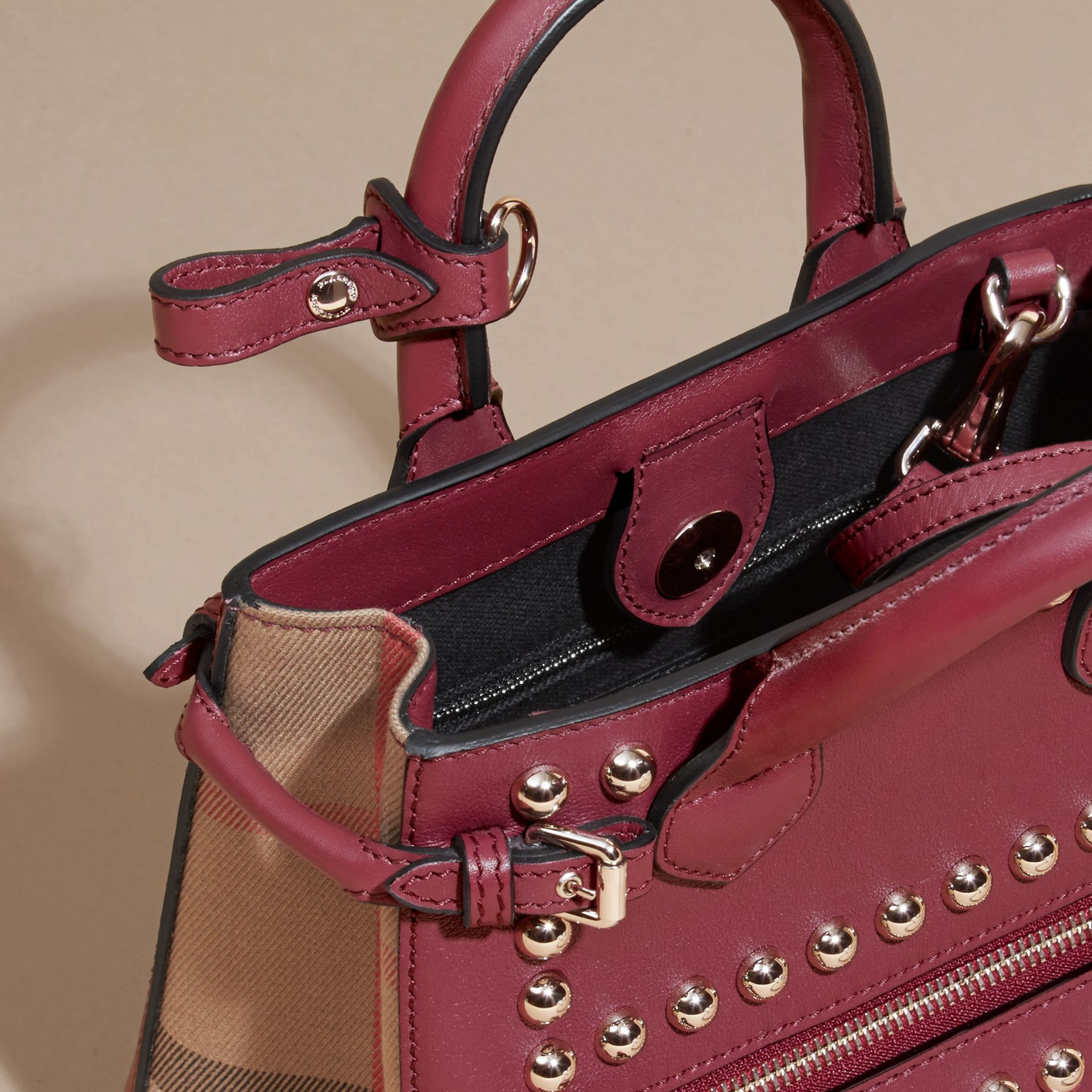 Garnet pink The Baby Banner in Studded Leather and House Check - gallery image 5