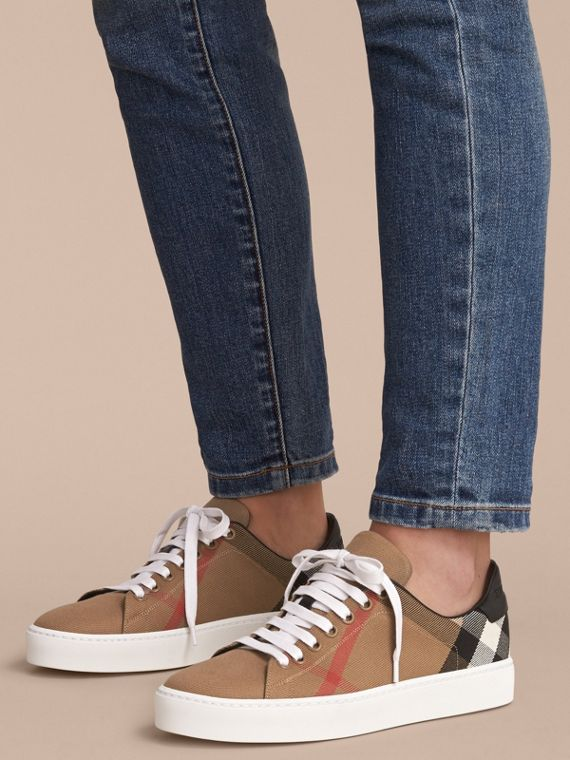 House Check and Leather Trainers in Classic - Women | Burberry - cell image 2