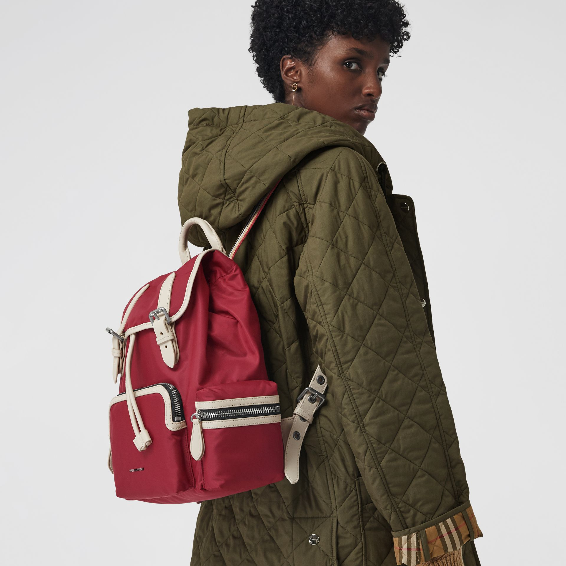 The Medium Rucksack in Technical Nylon and Leather in Red - Women | Burberry United Kingdom - gallery image 3