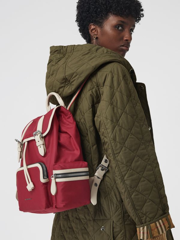 The Medium Rucksack in Technical Nylon and Leather in Red - Women | Burberry Hong Kong - cell image 3