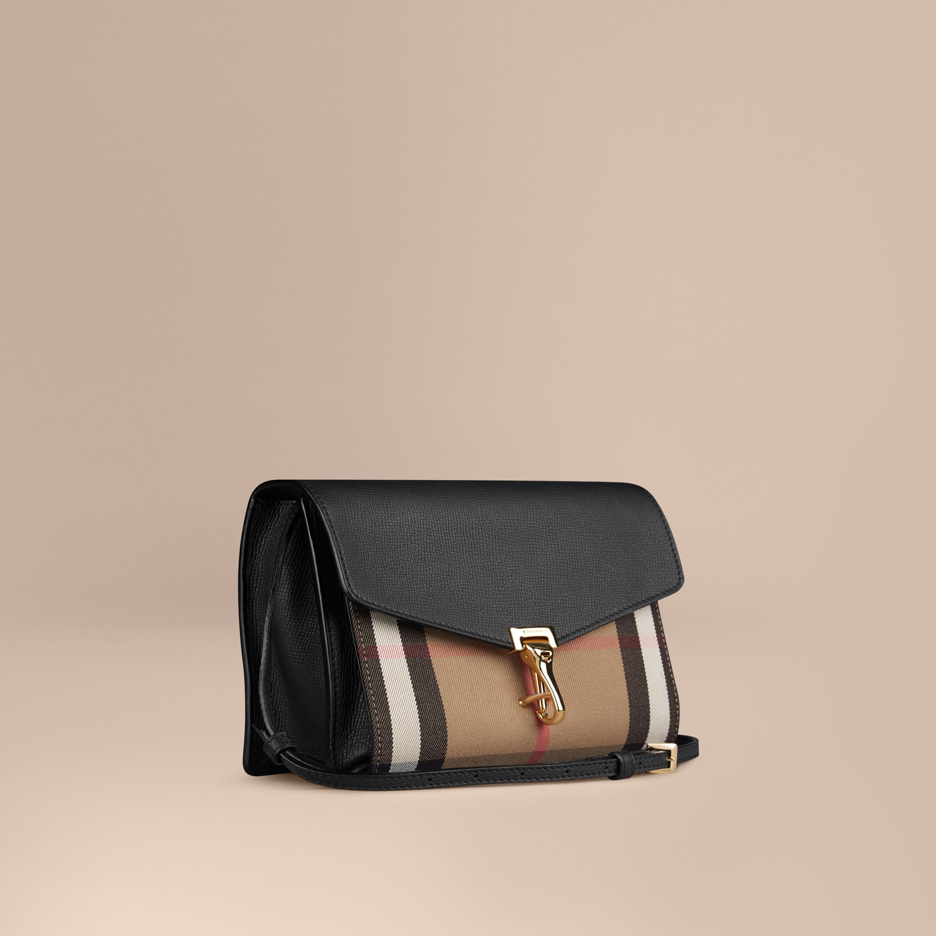 Small Leather and House Check Crossbody Bag in Black - gallery image 1