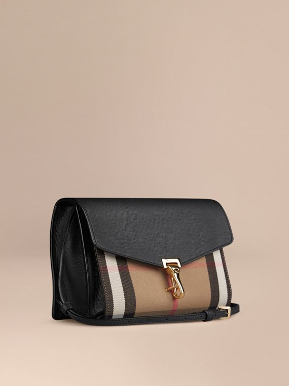 Small Leather and House Check Crossbody Bag Black