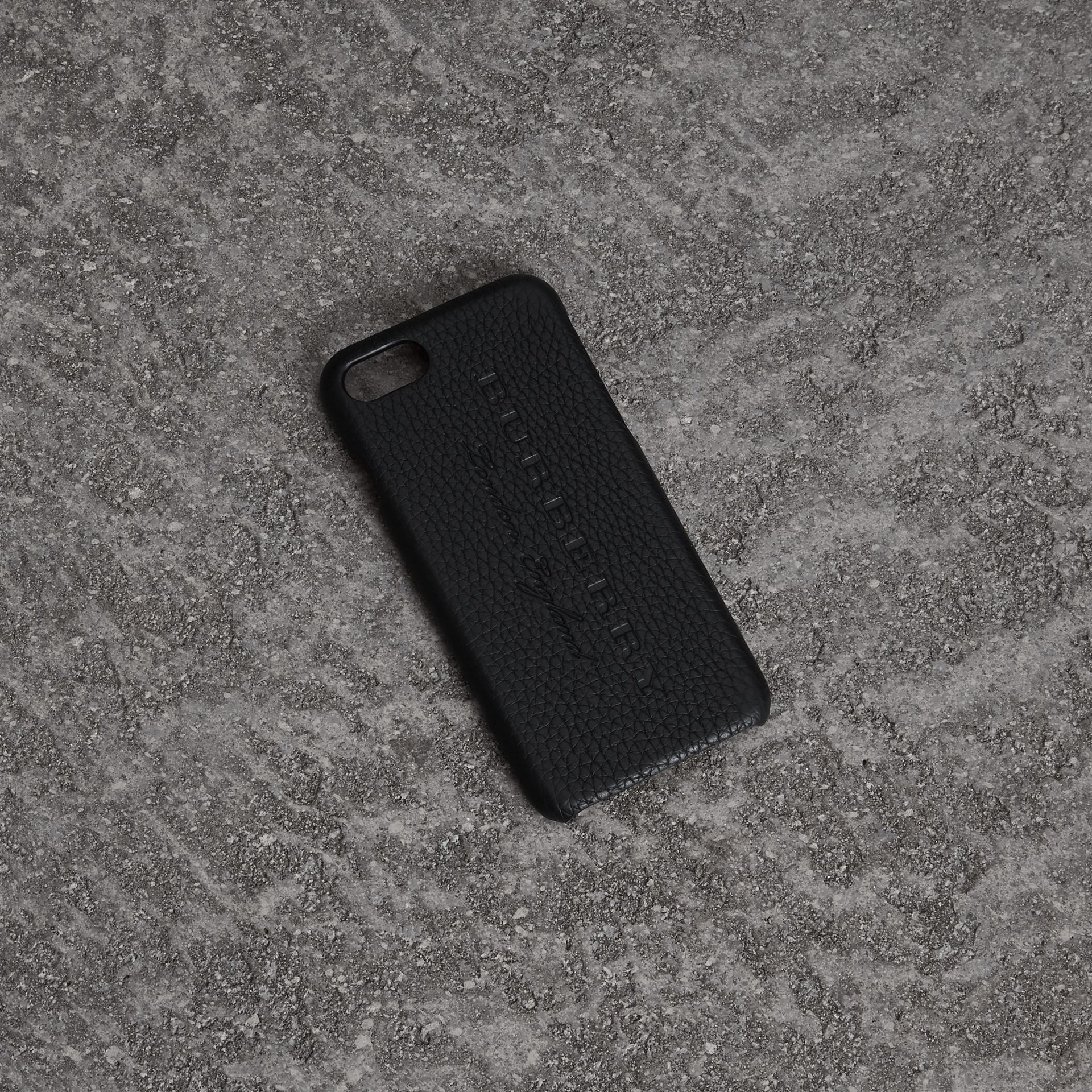 Embossed Logo Leather iPhone 8 Case in Black | Burberry - gallery image 0