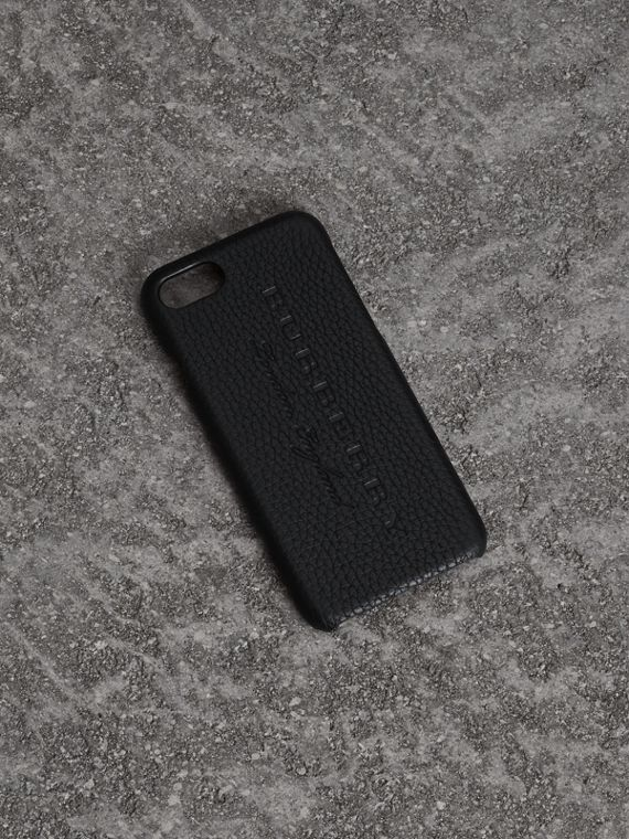 Embossed Logo Leather iPhone 8 Case in Black