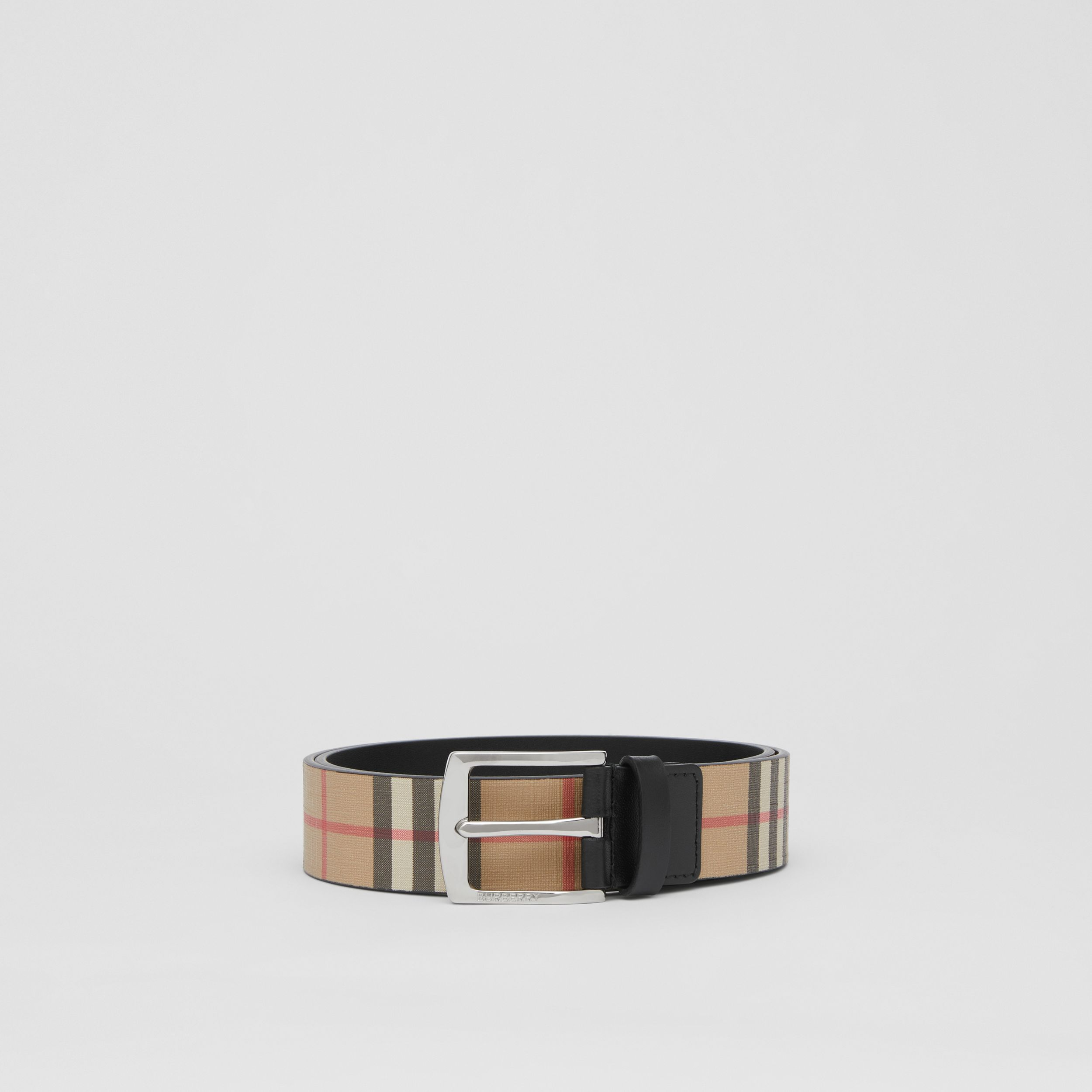Vintage Check E-canvas and Leather Belt in Archive Beige - Men | Burberry - 4