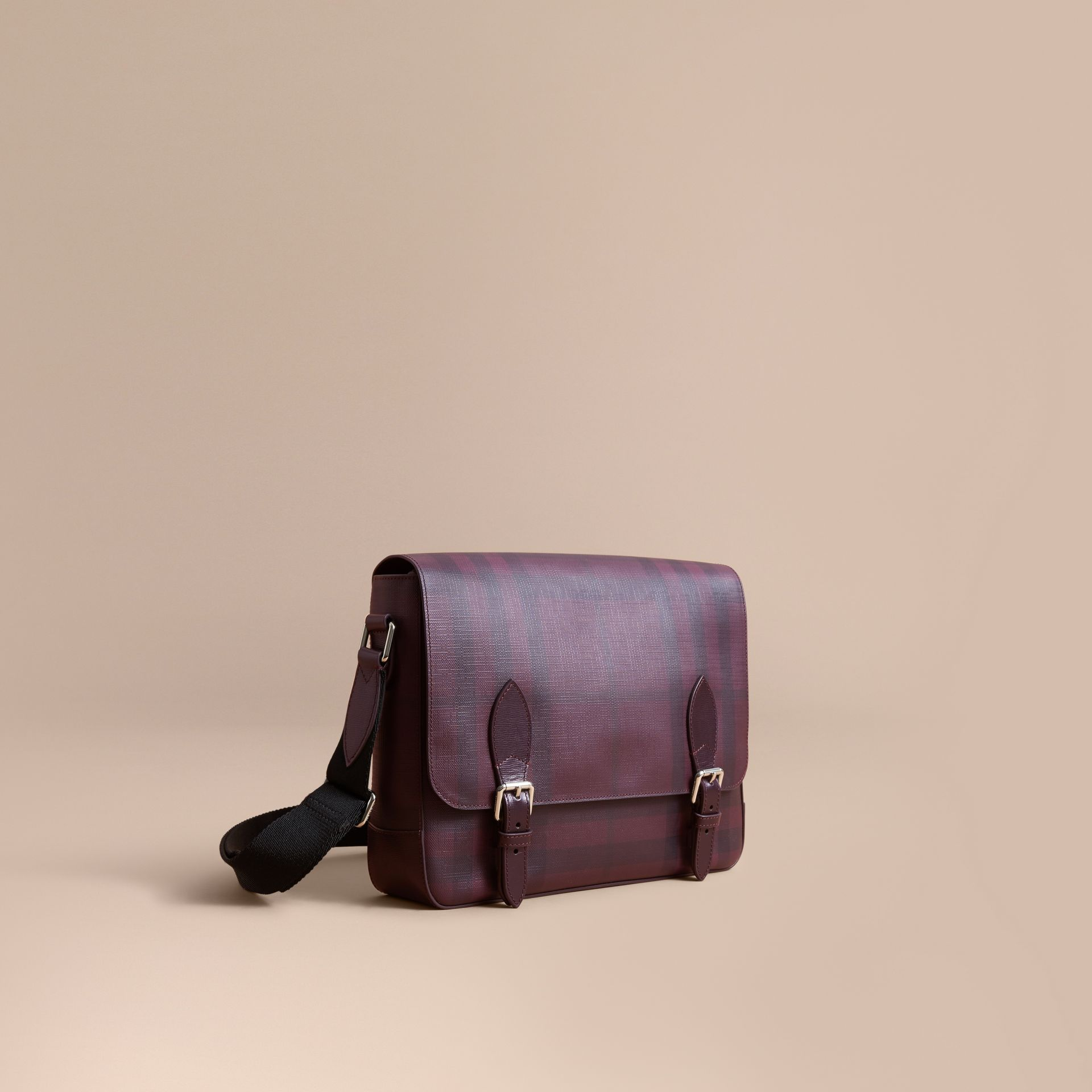 Medium Leather Trim London Check Messenger Bag in Deep Claret - Men | Burberry - gallery image 1
