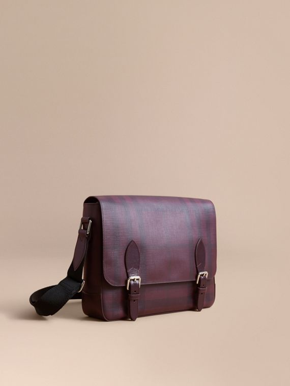 Medium Leather Trim London Check Messenger Bag in Deep Claret