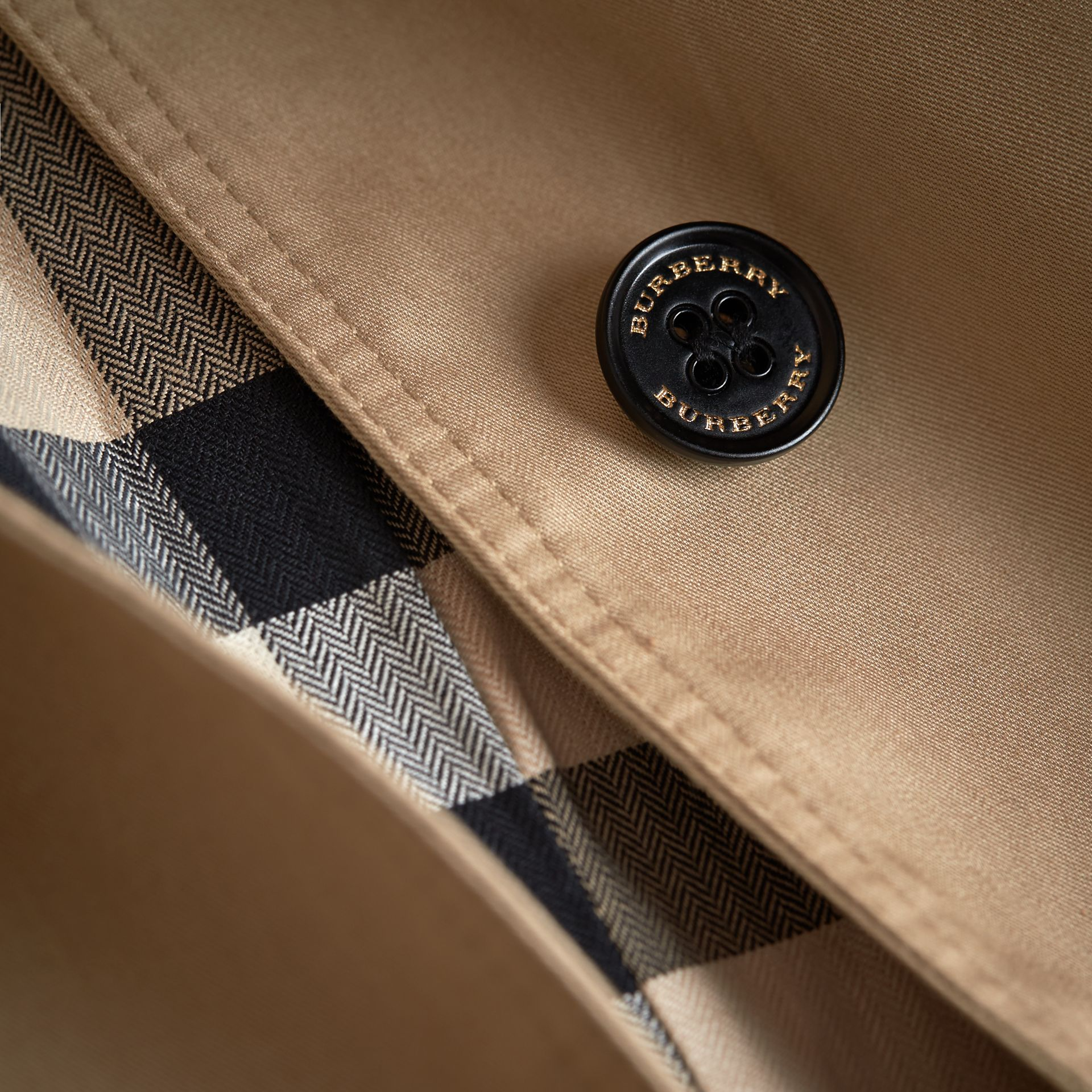 Detachable Hood Cotton Car Coat in Honey - Girl | Burberry - gallery image 1