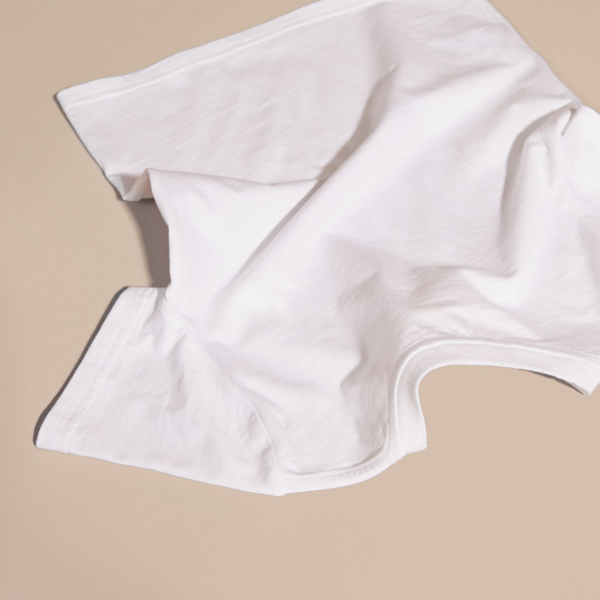 White Heart Print Cotton T-Shirt White - gallery image 4