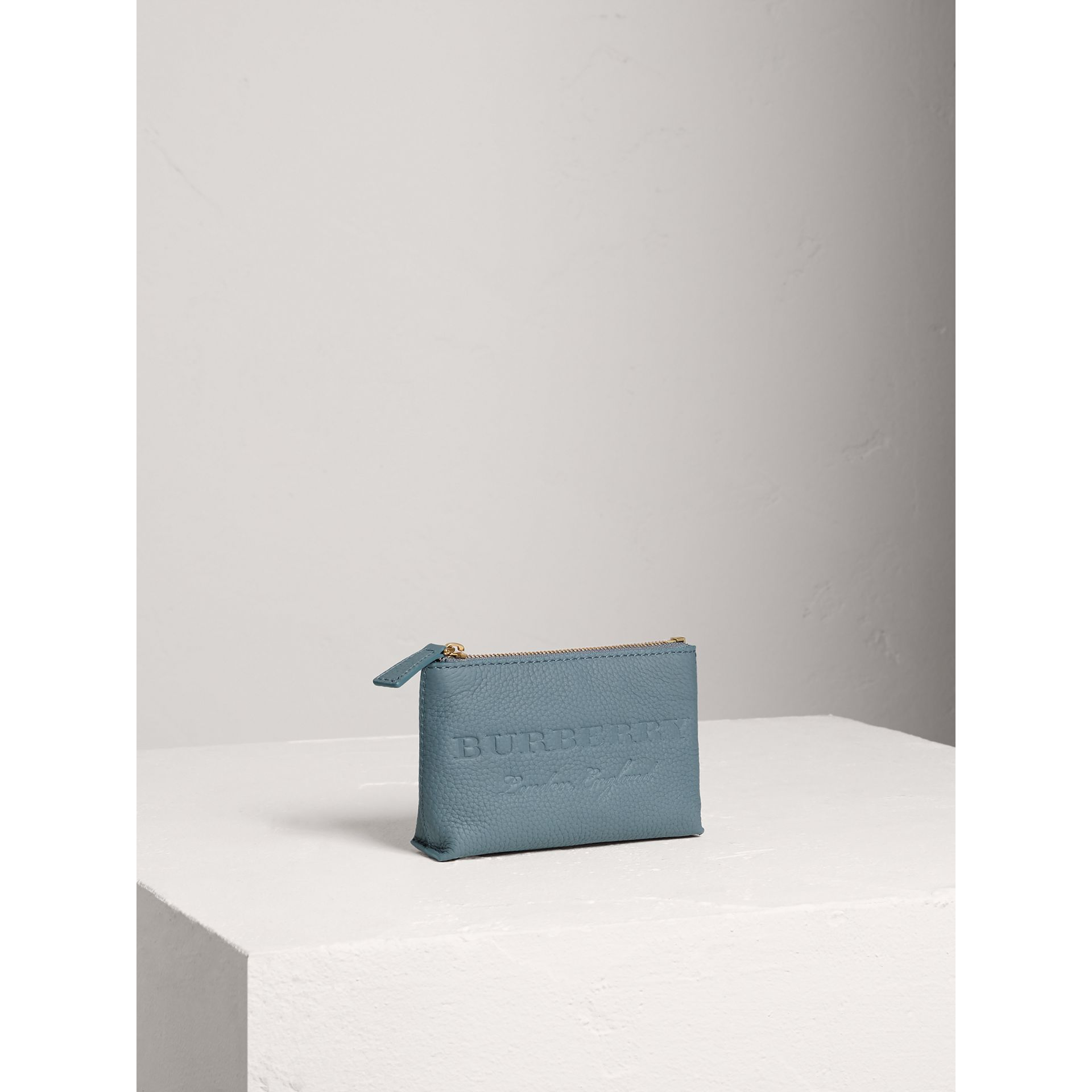 Small Embossed Leather Zip Pouch in Dusty Teal Blue | Burberry - gallery image 5