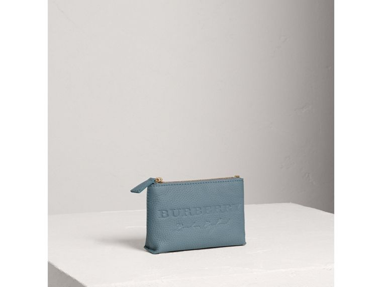 Small Embossed Leather Zip Pouch in Dusty Teal Blue | Burberry - cell image 4