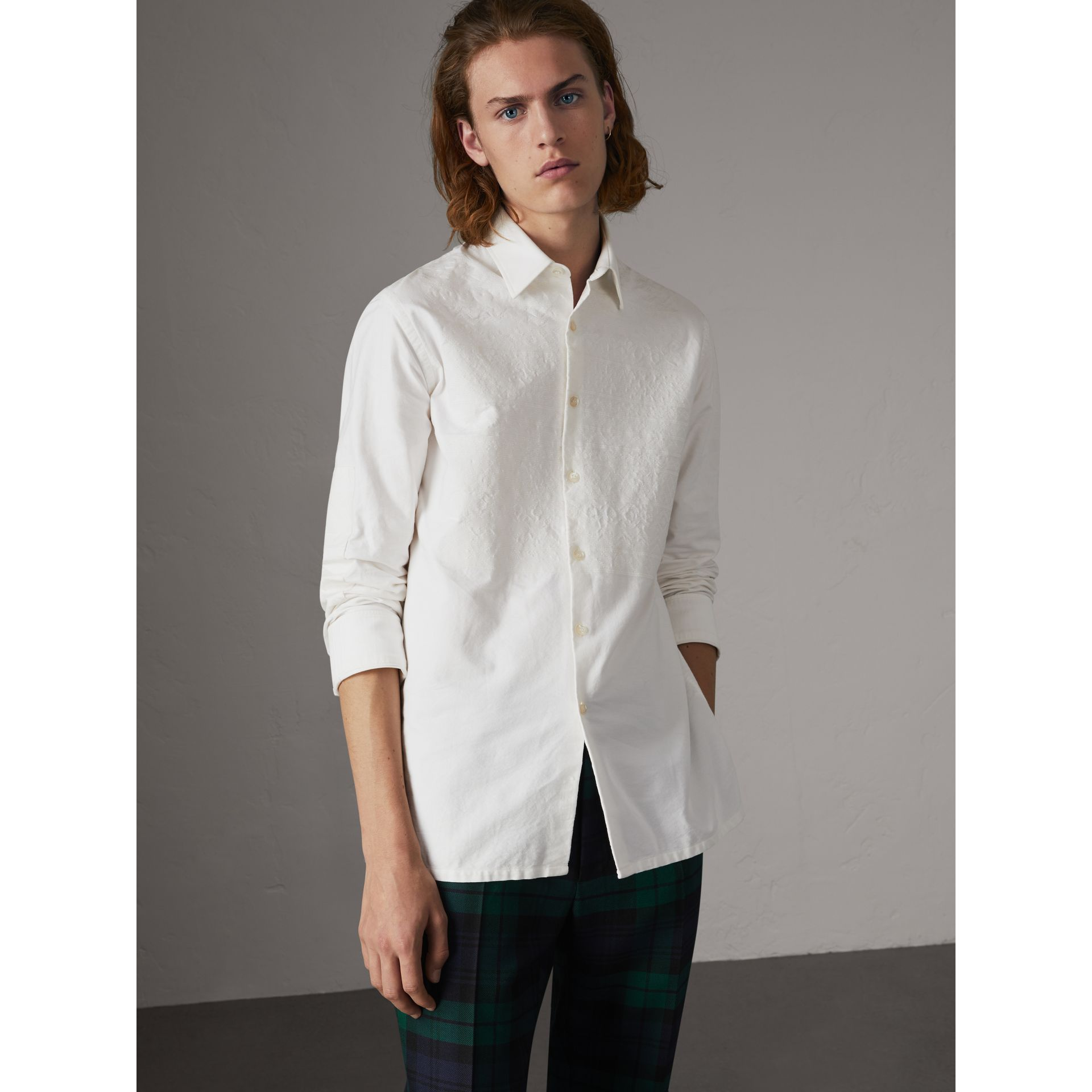 Embroidered Oxford Cotton Longline Shirt in White - Men | Burberry - gallery image 0