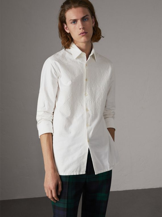 Embroidered Oxford Cotton Longline Shirt in White