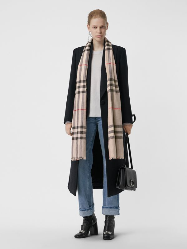 Metallic Check Silk and Wool Scarf in Stone/ Silver | Burberry United States - cell image 2