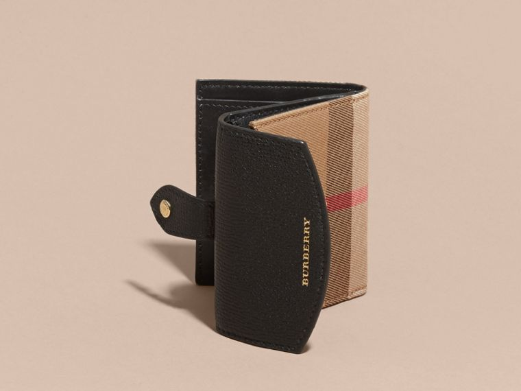 House Check and Leather Wallet in Black - Women | Burberry - cell image 4