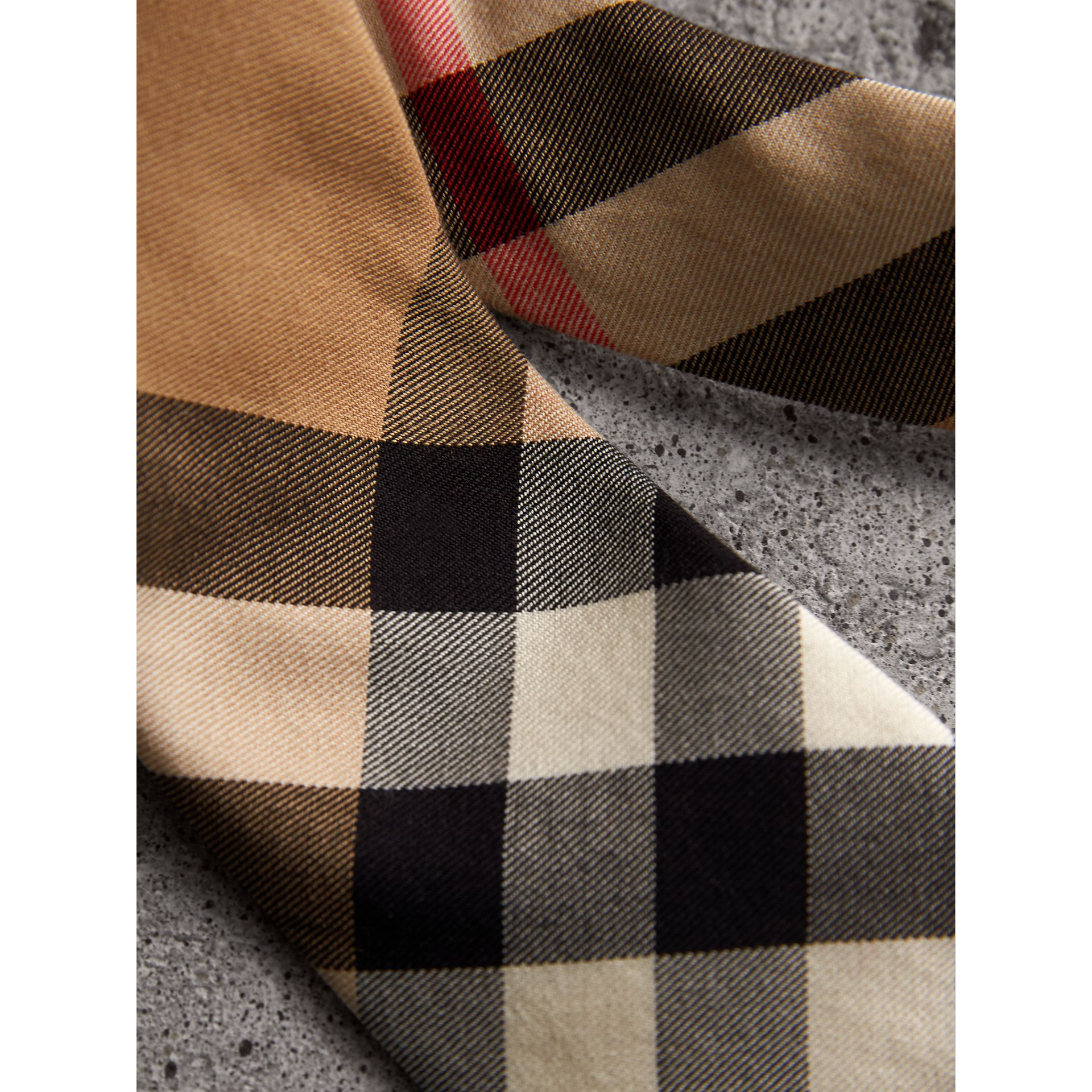 Modern Cut Check Cotton Cashmere Tie in Camel - Men | Burberry Australia - gallery image 1
