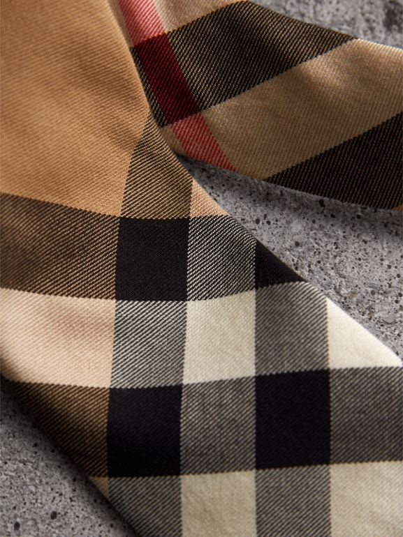 Modern Cut Check Cotton Cashmere Tie in Camel - Men | Burberry - cell image 1