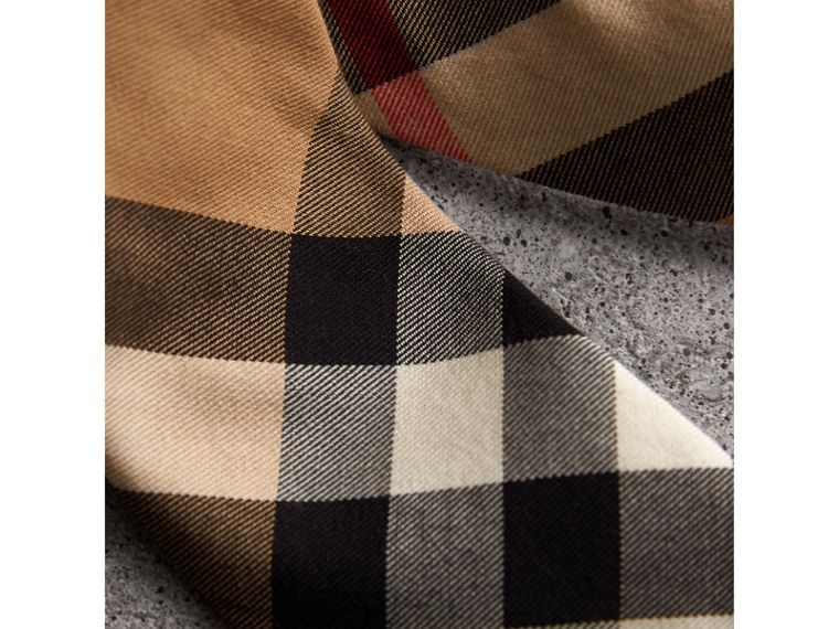 Modern Cut Check Cotton Cashmere Tie in Camel - Men | Burberry Singapore - cell image 1