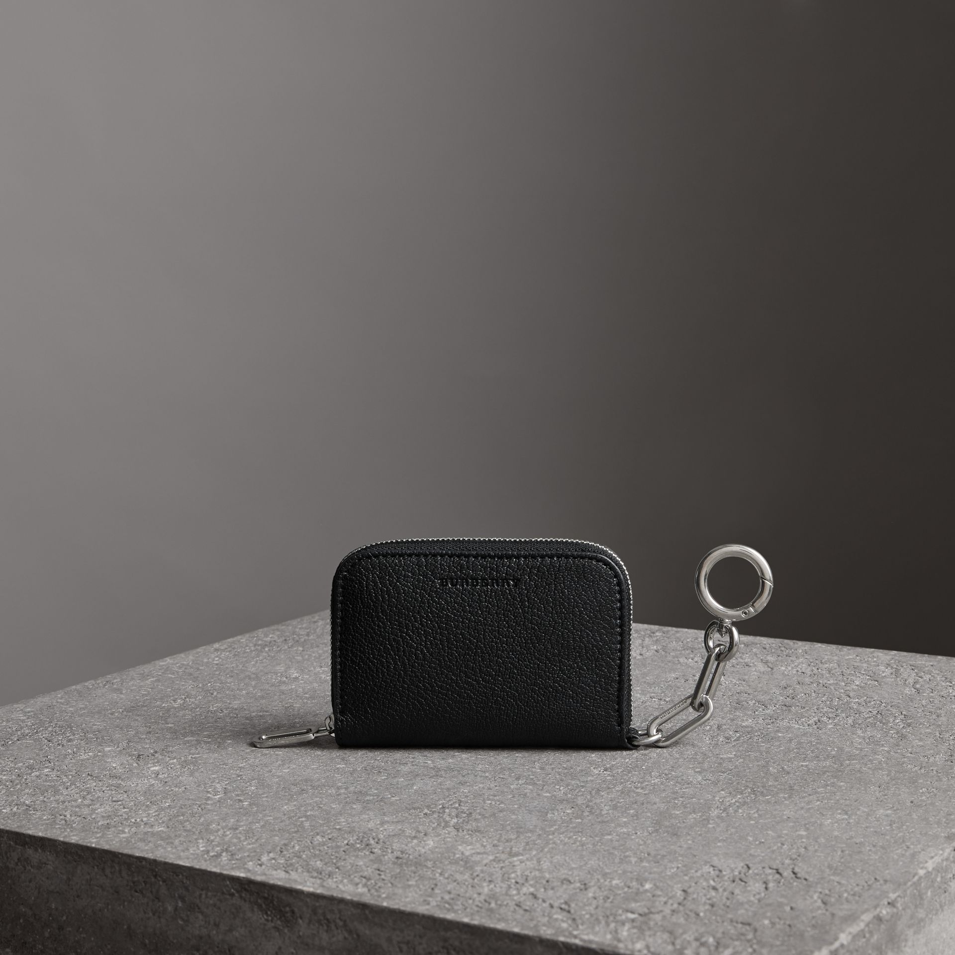 Link Detail Leather Ziparound Wallet in Black - Women | Burberry - gallery image 0