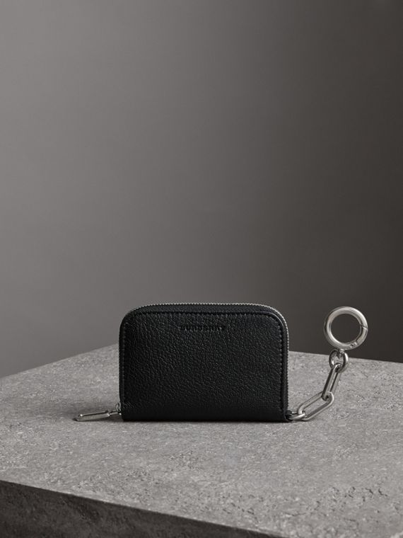 Link Detail Leather Ziparound Wallet in Black