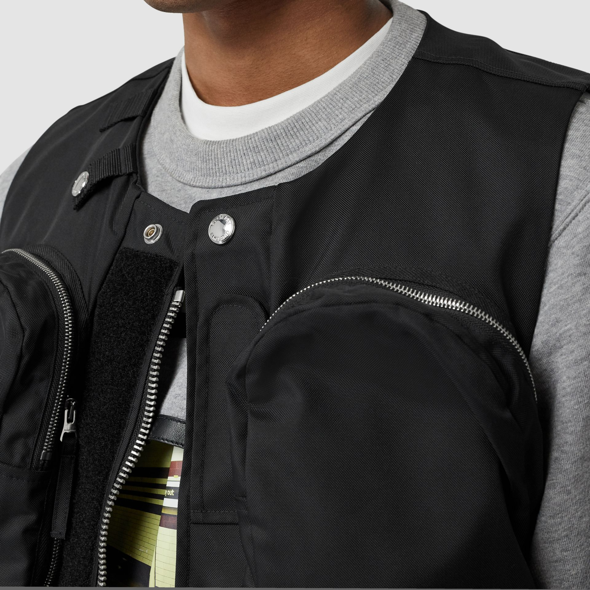 Nylon Twill Bomber Jacket with Detachable Gilet in Black - Men | Burberry - gallery image 4