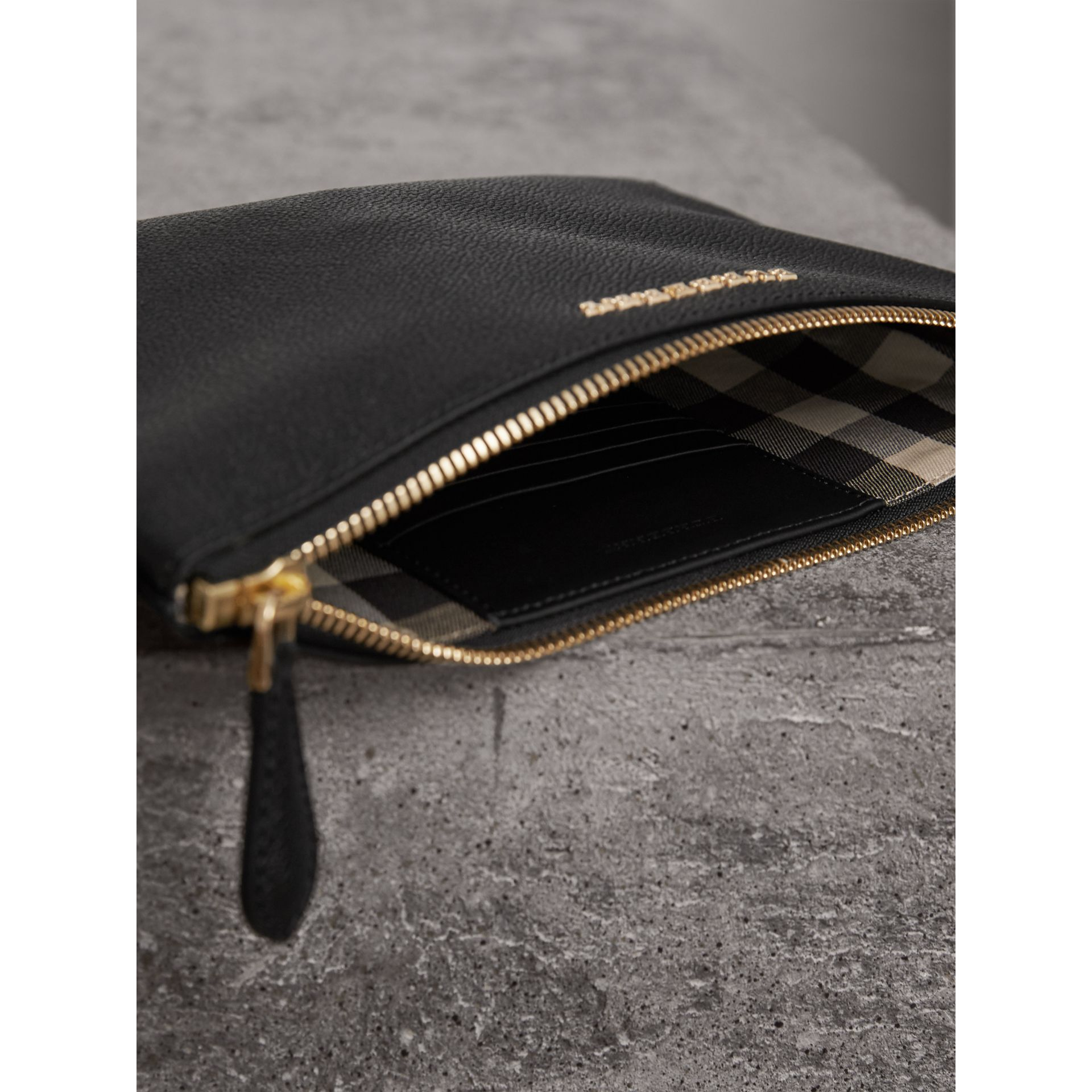 Leather Clutch Bag with Check Lining in Black - Women | Burberry - gallery image 6