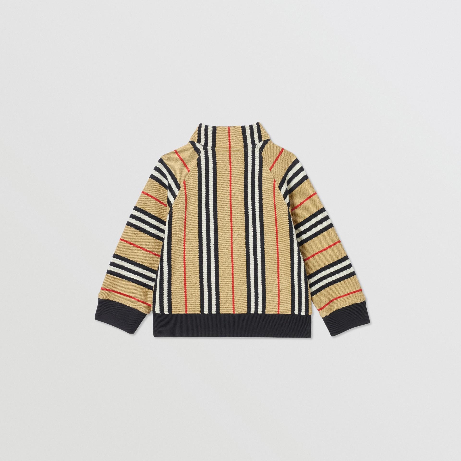 Icon Stripe Cotton Track Top in Archive Beige - Children   Burberry United Kingdom - gallery image 4