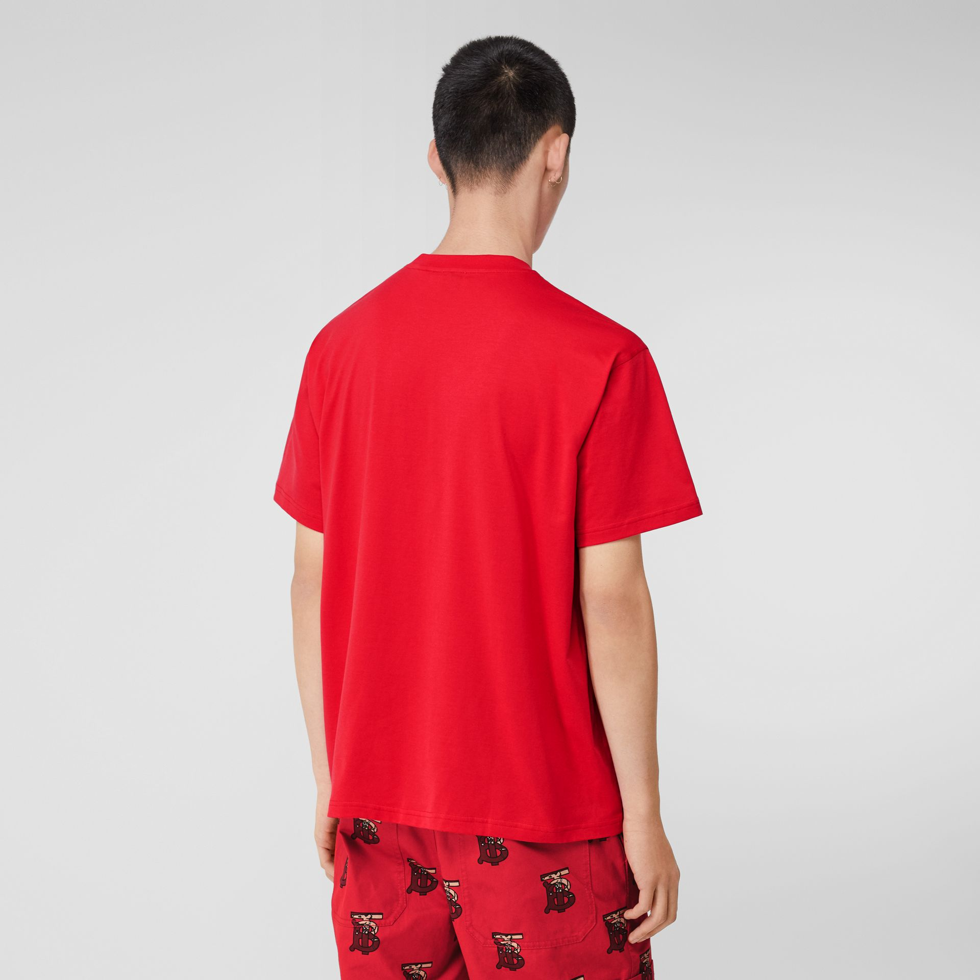 Monogram Motif Cotton Oversized T-shirt in Racing Red - Men | Burberry United Kingdom - gallery image 2