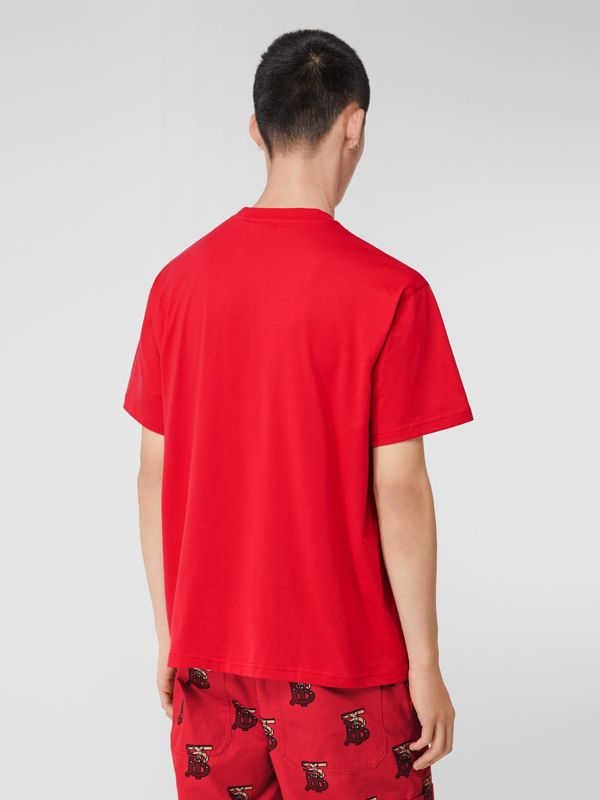 Monogram Motif Cotton Oversized T-shirt in Racing Red - Men | Burberry United Kingdom - cell image 2