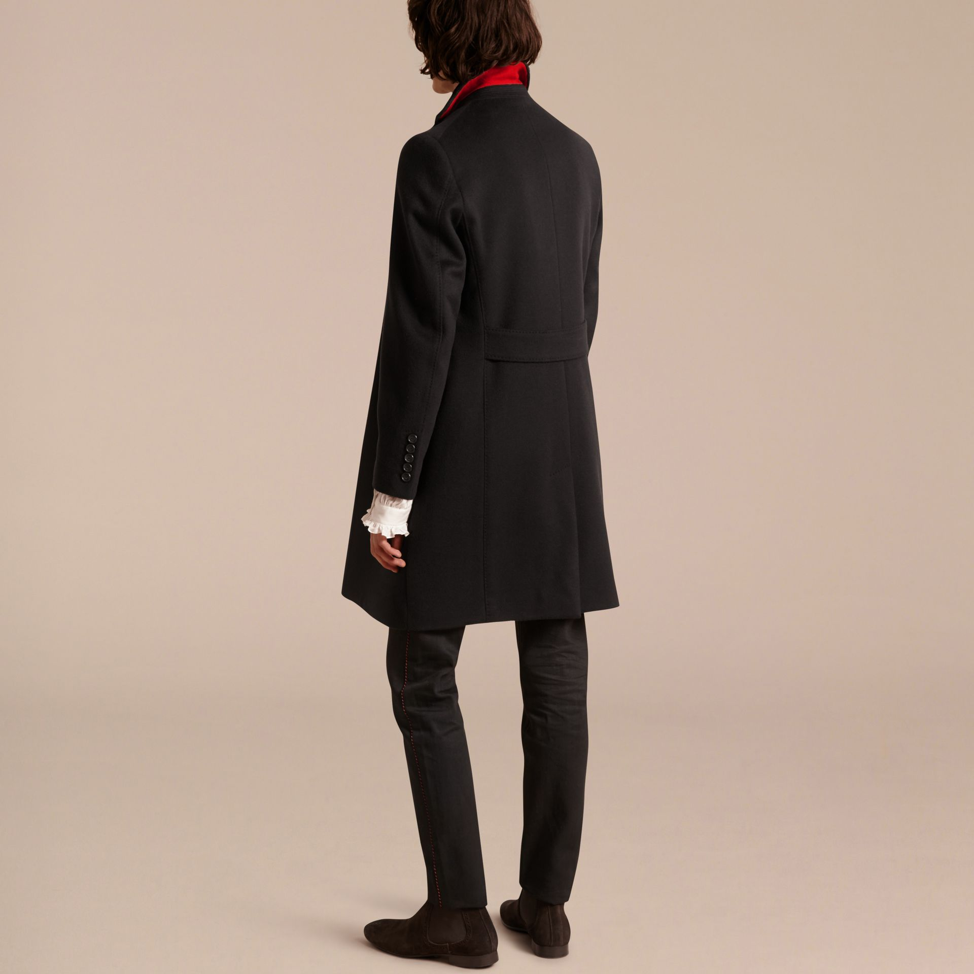 Black Rabbit Topcollar Wool Cashmere Coat - gallery image 3