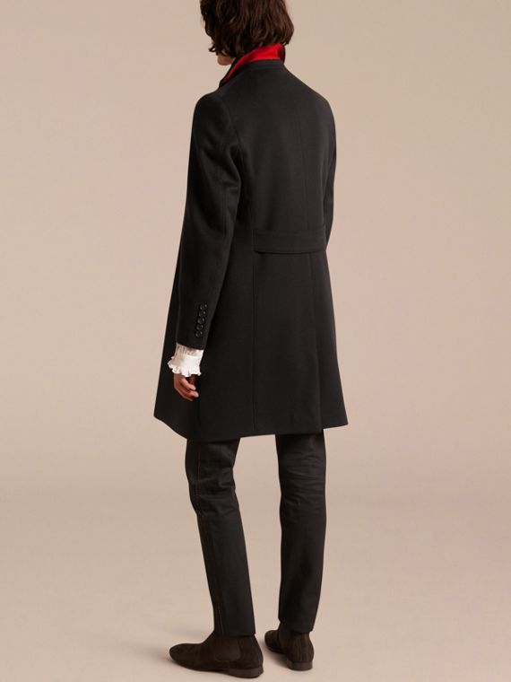 Black Rabbit Topcollar Wool Cashmere Coat - cell image 2