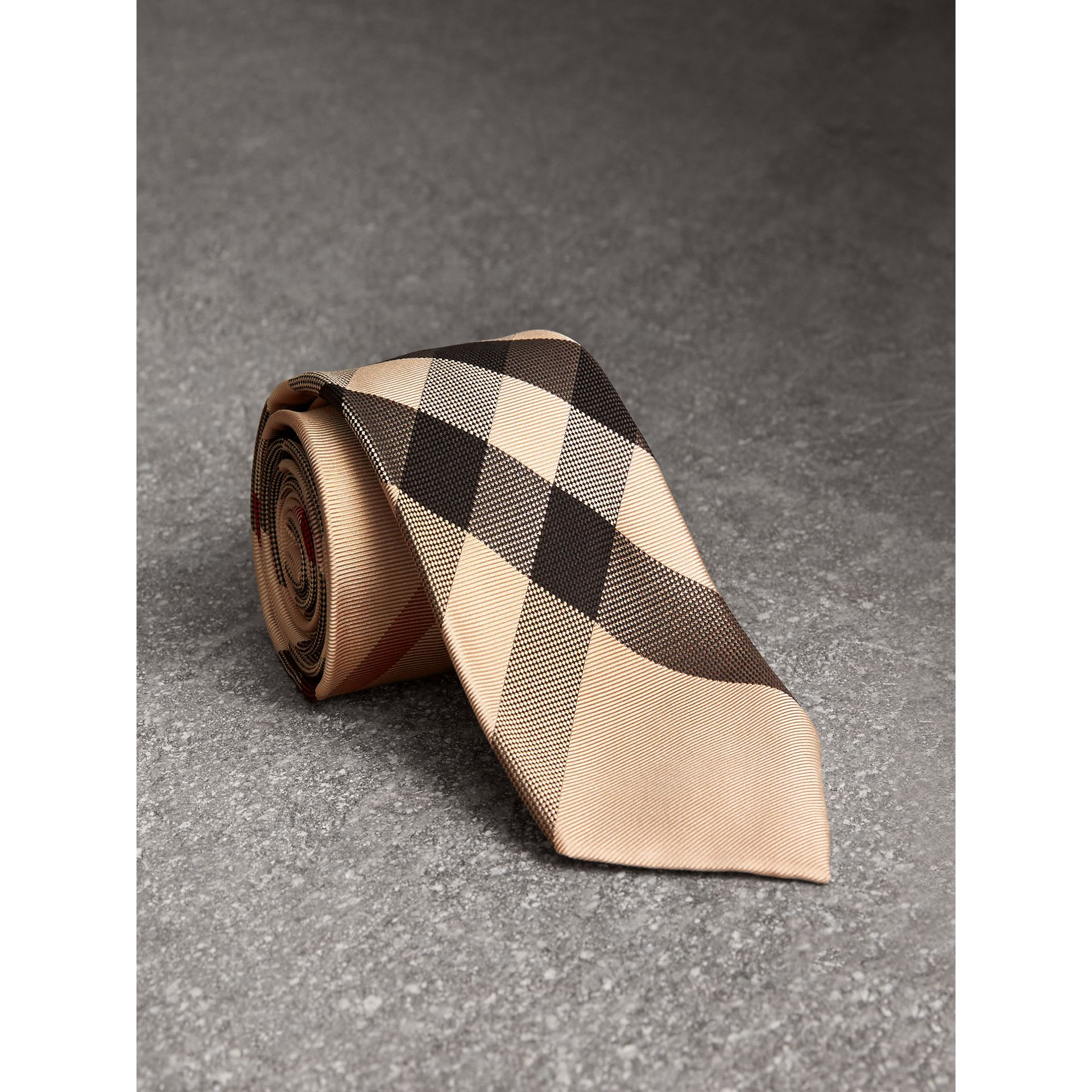 Modern Cut Check Silk Tie in New Classic - Men | Burberry United Kingdom - gallery image 1