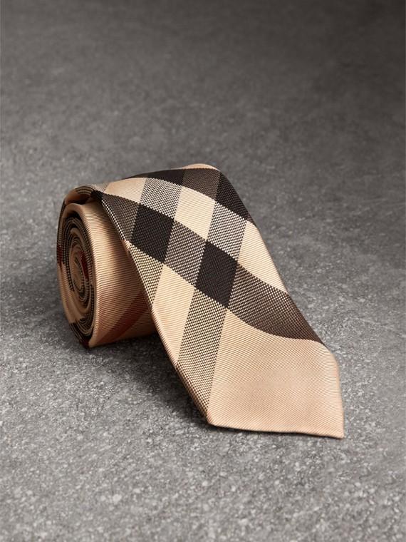 Gravata de seda com estampa xadrez e corte moderno (New Classic Check)