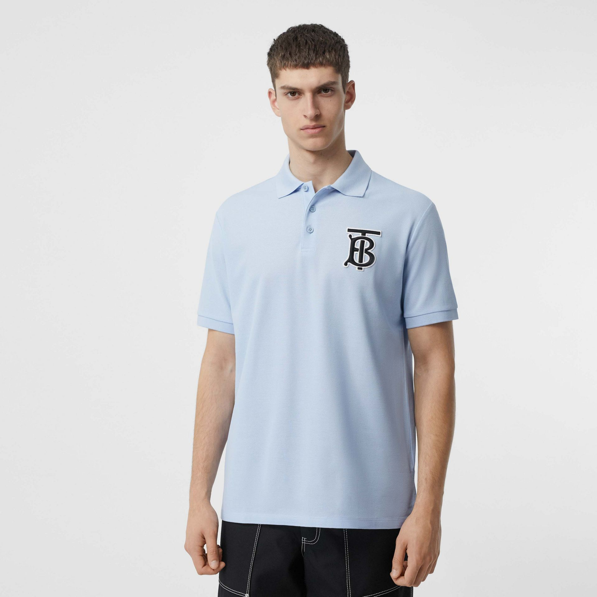 Monogram Motif Cotton Piqué Polo Shirt in Pale Blue - Men | Burberry - gallery image 0