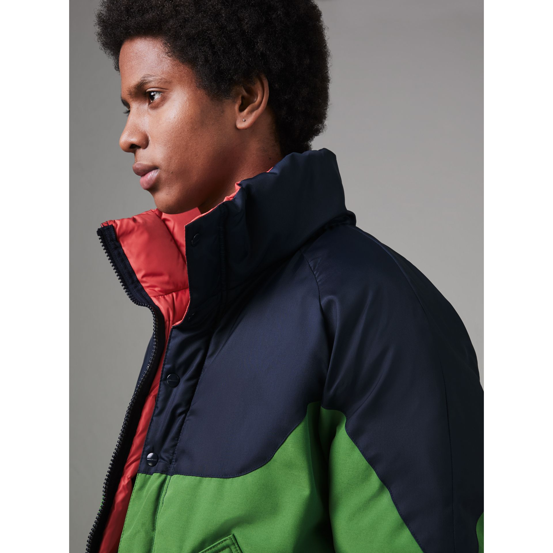 Tri-tone Down-filled Reversible Jacket in Bright Grass Green - Men | Burberry Australia - gallery image 1