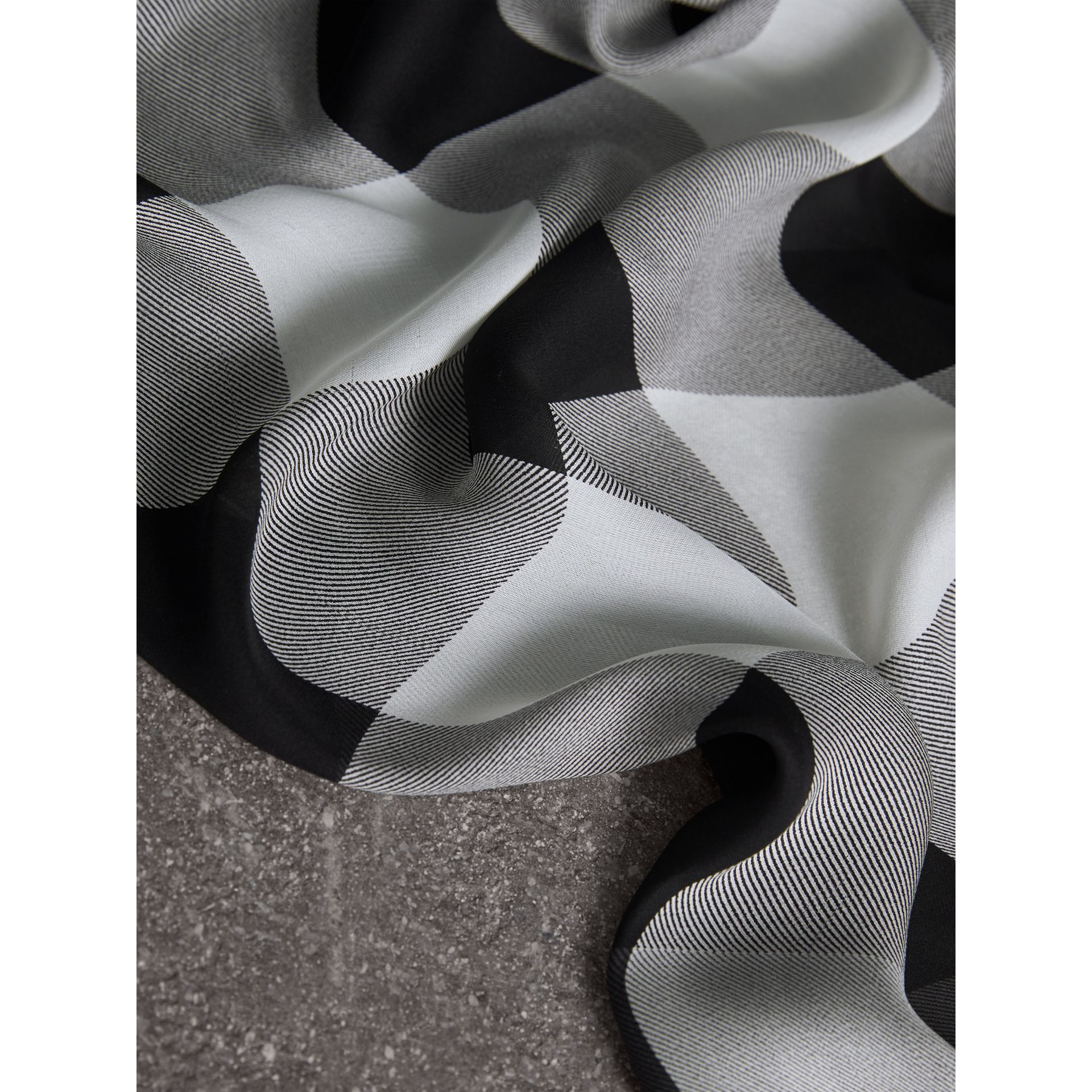 Lightweight Check Silk Scarf in Mid Grey - Women | Burberry - gallery image 2