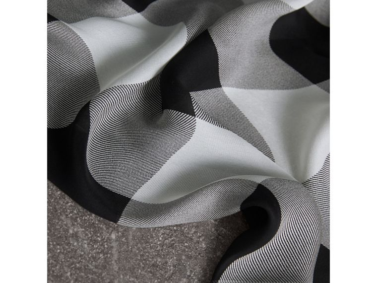 Lightweight Check Silk Scarf in Mid Grey - Women | Burberry - cell image 1