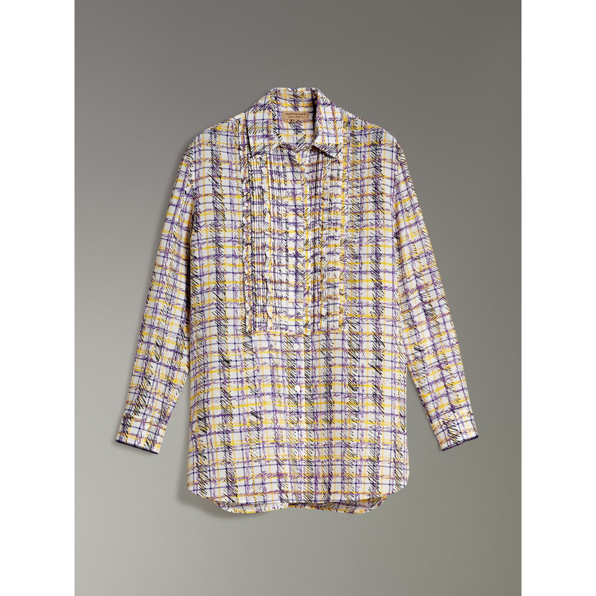 Scribble Check Print Silk Shirt in Heather - Women | Burberry - gallery image 3